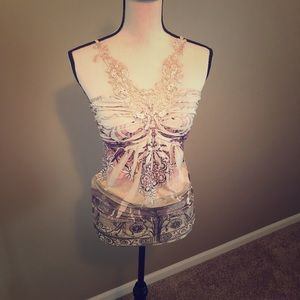 SKY lace embellished top